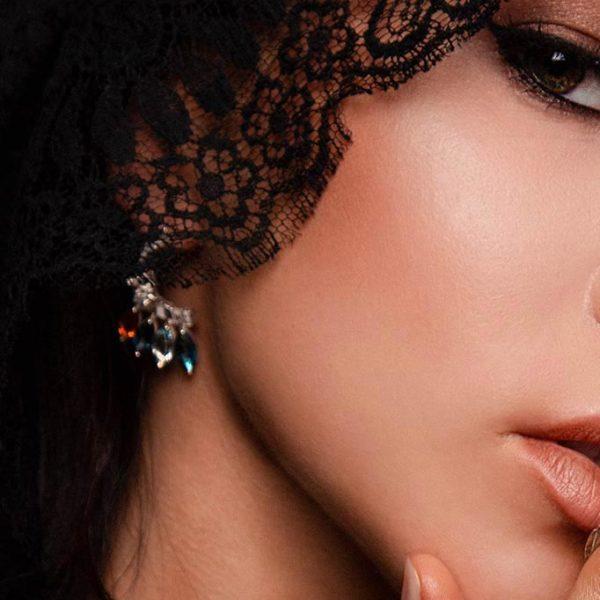 ZYDRUNE Celestial 'IC 443' gemstone earrings lookbook2.