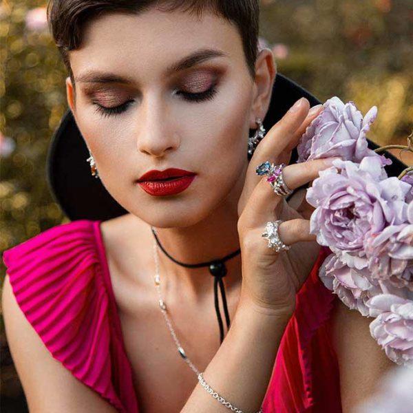 ZYDRUNE Celestial 'Iris' bracelet lookbook in the field of roses.