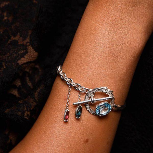 ZYDRUNE Celestial 'NGC 6960' gemstone bracelet lookbook.