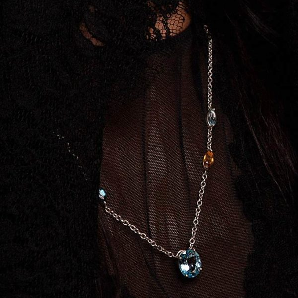 ZYDRUNE Celestial 'Trifid' gemstone necklace lookbook.