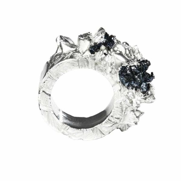 Zydrune Anomaly jewellery, 'Blizzard' statement Silver ring side view.