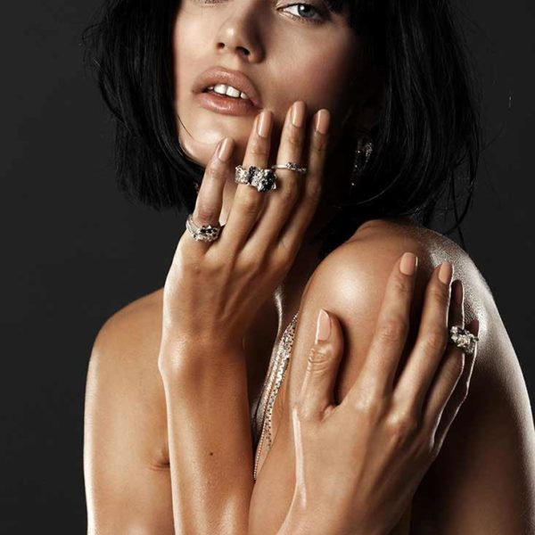 Zydrune Anomaly jewelry lookbook. Model wearing 'Blizzard' statement ring and other Zydrune jewelry.
