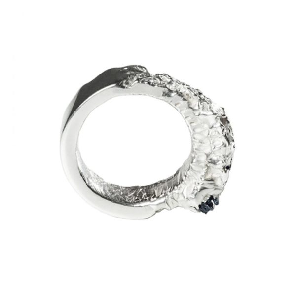 Zydrune Anomaly jewellery, 'Breakup Jam' Silver ring side view.