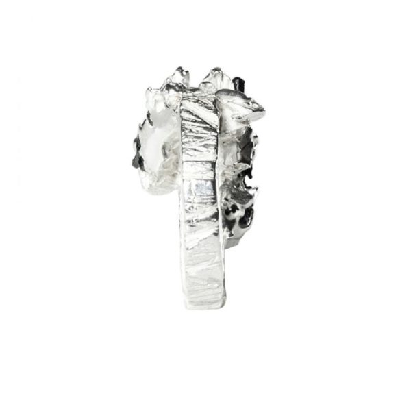 Zydrune Anomaly jewellery, 'Glaze Ice' woman's Silver ring back view.