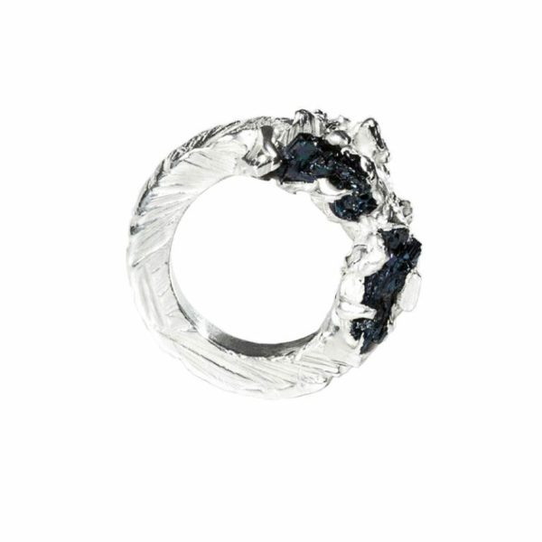 Zydrune Anomaly jewellery, 'Glaze Ice' woman's Silver ring side view.