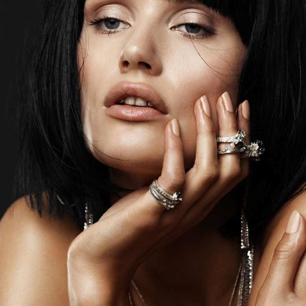Zydrune Anomaly jewellery lookbook. Model wearing elegant 'Hail' ring and other Zydrune jewelry.