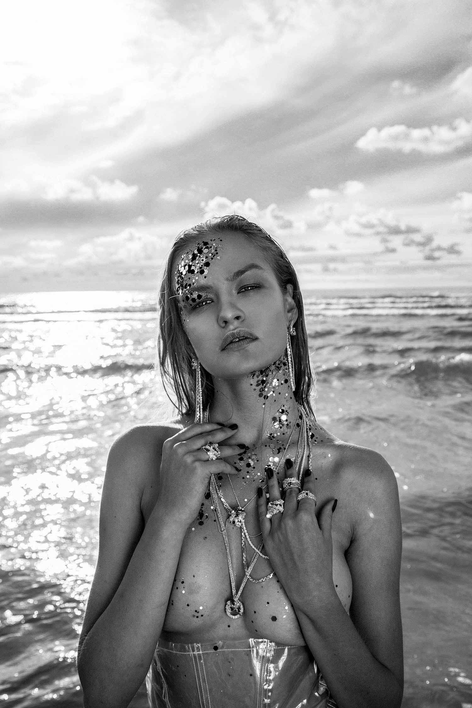 Zydrune Anomaly mermaid theme lookbook. Model wearing full set of Zydrune jewellery.
