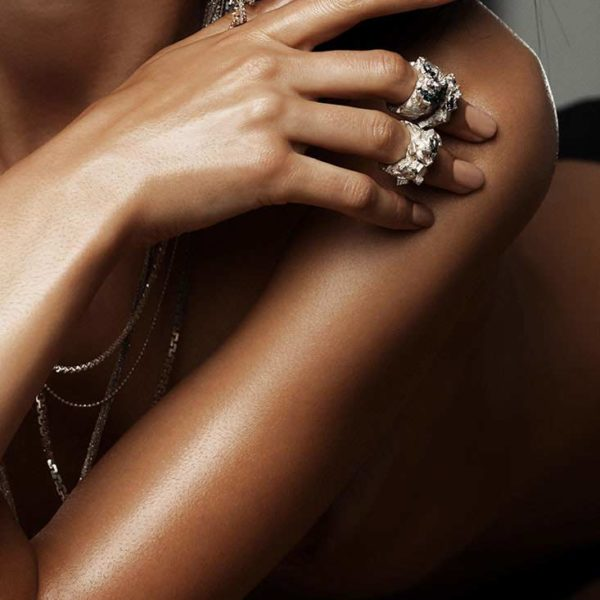 Zydrune Anomaly jewellery lookbook. Model wearing beautiful 'Polycrystal' ring and other jewelry.