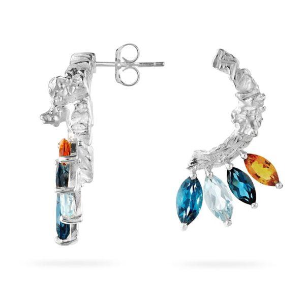 Zydrune Celestial 'IC443' gemstone earrings side view.