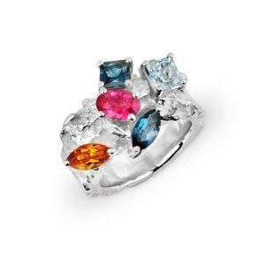 ZYDRUNE Celestial 'Orion Nebula' multi gemstone statement ring.