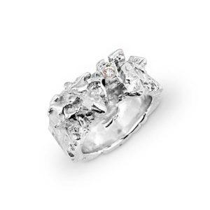 ZYDRUNE Celestial 'Polaris' Silver Diamond ring.