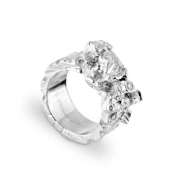 Zydrune Celestial 'Polaris' Silver Diamond ring side view.