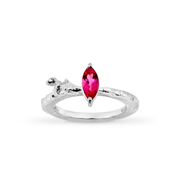 Zydrune Celestial 'Supernova 1006' pink ring front view.