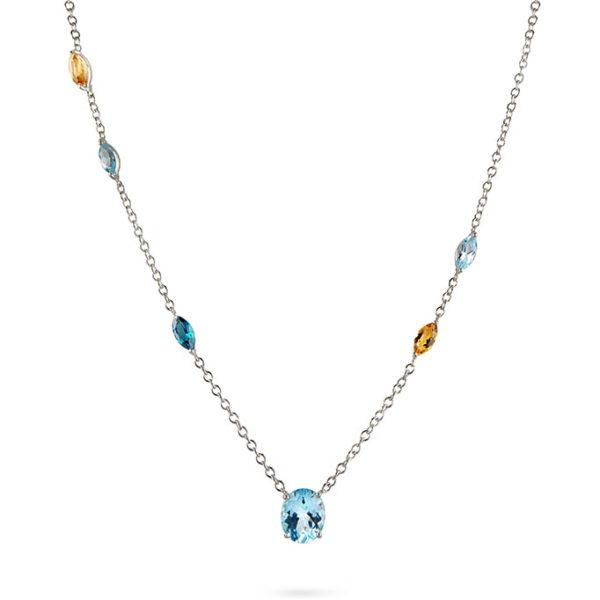 Zydrune Celestial 'Trifid' gemstone necklace close-up.