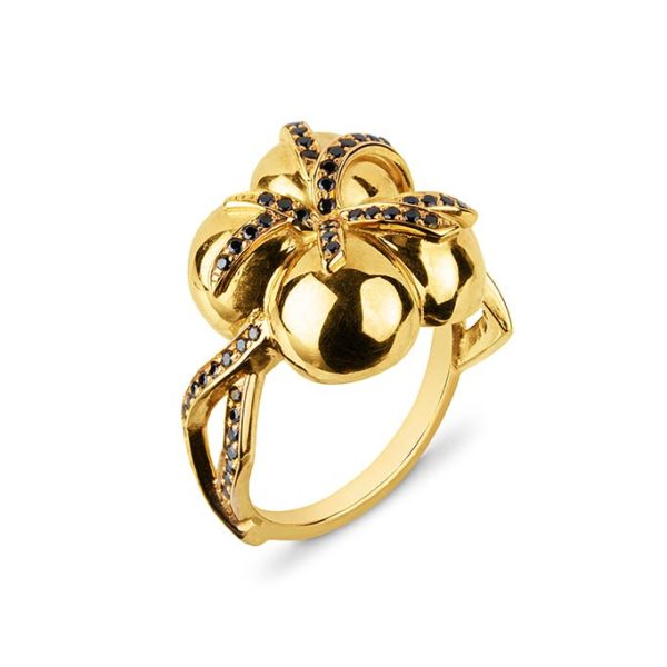 Zydrune jewellery medieval collection diamond and gold 4 orb ring.