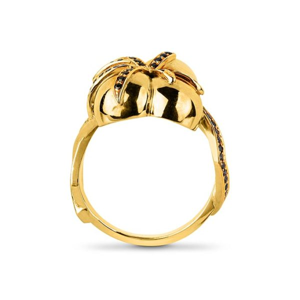 Zydrune jewellery medieval collection diamond and gold 4 orb ring image side view.