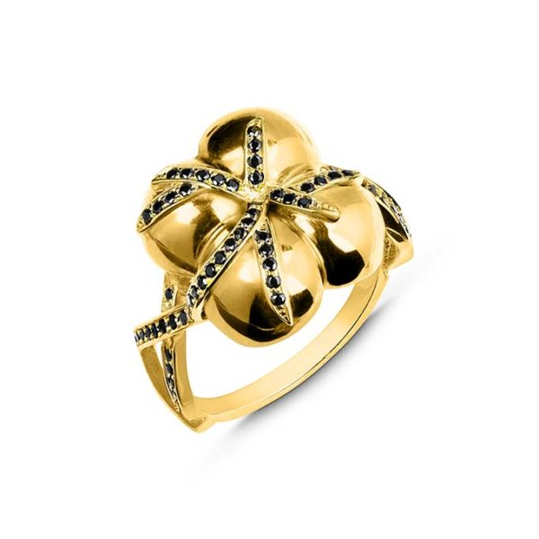 Zydrune jewellery medieval collection diamond and gold 4 orb ring image.
