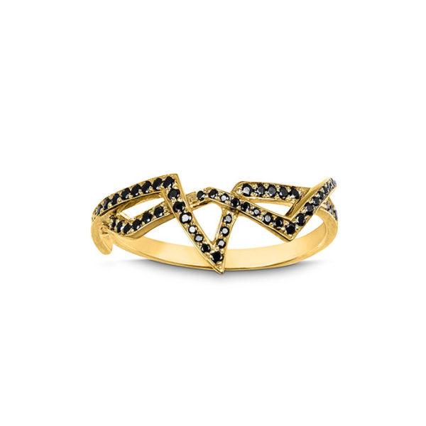 Zydrune jewellery medieval collection diamond and gold vermeil corset lace ring image top view.