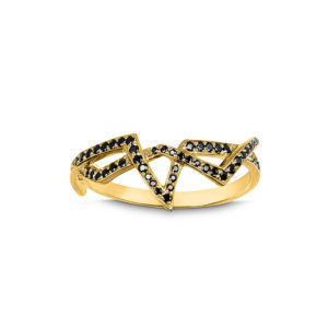 Zydrune jewellery medieval collection diamond and gold corset lace ring image top view.