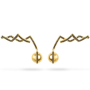 Zydrune jewellery medieval collection gold vermeil and diamond earrings image.