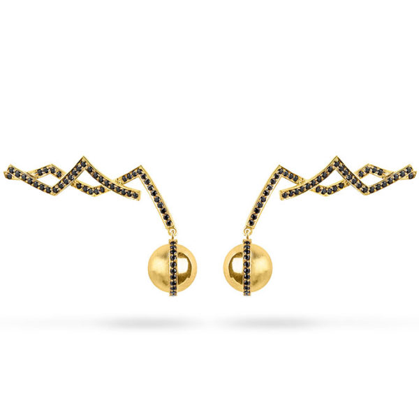 Zydrune jewellery medieval collection gold and diamond earrings image.