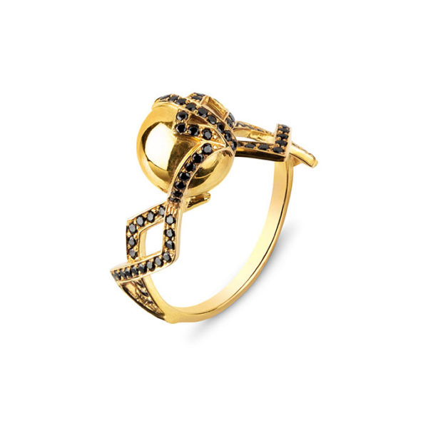 Zydrune jewellery medieval collection diamond and gold vermeil single orb ring.