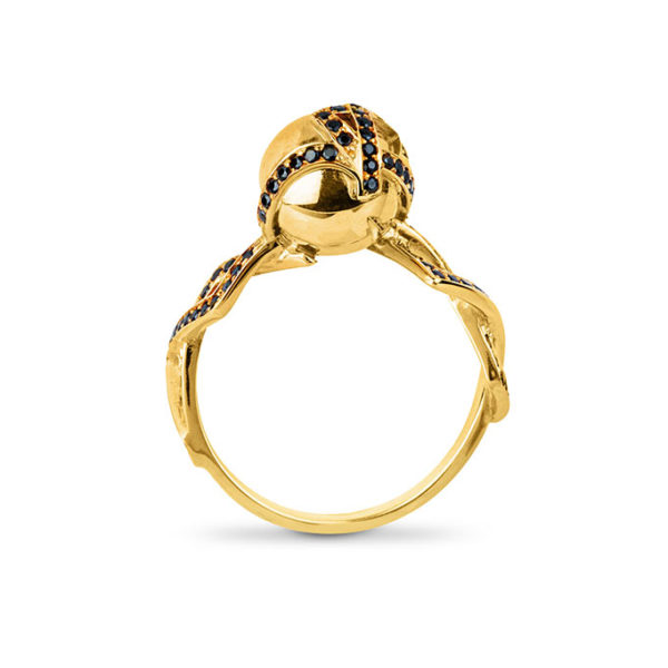 Zydrune jewellery medieval collection diamond and gold vermeil single orb ring image side view.