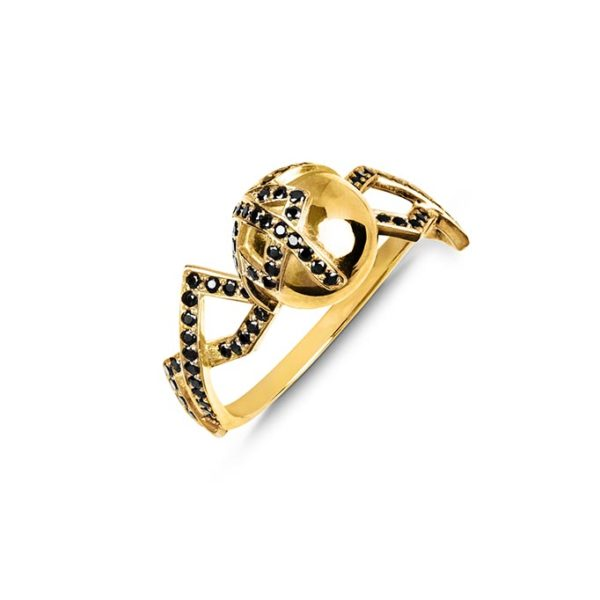 Zydrune jewellery medieval collection diamond and gold vermeil single orb ring image.