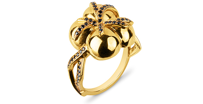 Zydrune designer jewellery statement gold and black diamonds ring.