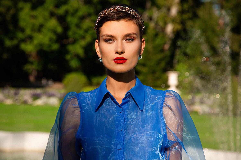 ZYDRUNE Jewellery Sky Blue Royal Topaz Blog Post. Model wearing Celestial jewellery. Lookbook.