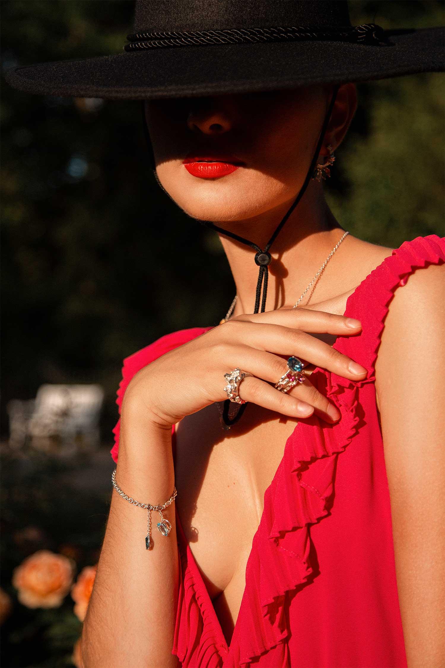ZYDRUNE Jewellery Western Mademoiselle Blog Post. Model wearing Celestial jewellery. Lookbook12.