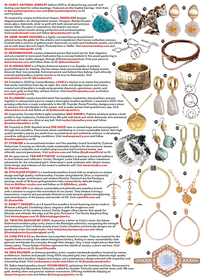 ZYDRUNE jewellery featured in Vanity Fair magazine.