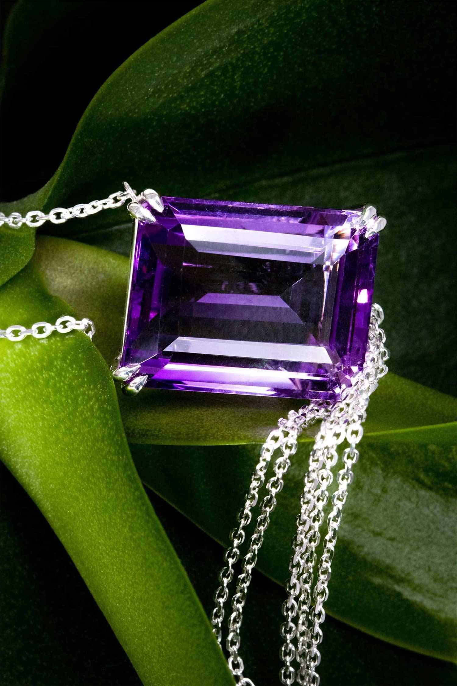 Bespoke ZYDRUNE Amethyst pendant with a tassel.