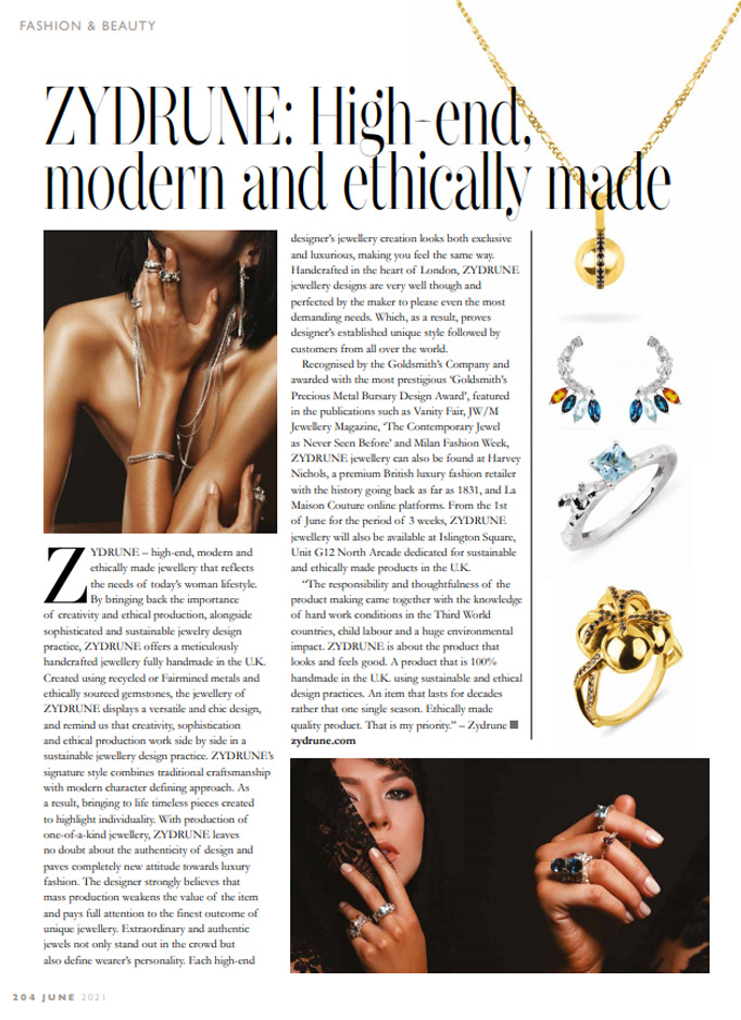 Full page article of ZYDRUNE Jewellery in London Life magazines.
