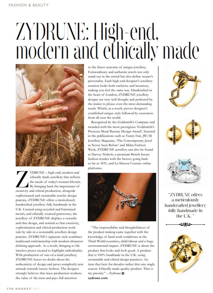 Full page article of ZYDRUNE jewellery in Blackheath Life magazine.